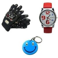 Combo Of Pro Biker Gloves+ Morelife Men's Watch Red With Free Smiley Key Chain.