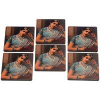 Ishttyle Gully Indian Lady Coaster Set Of 6