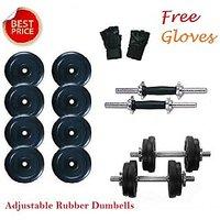 Welkin 18 Kg Adjustable Rubber Dumbells Sets + 2 Rods + Gloves