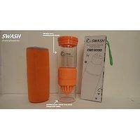 SWASH BPA Free Glass Bottle With Inbuilt Dual Hand Juicer Cum Shaker (Orange)