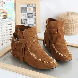 Welcome Winter Offer:Round Fringe Suede Shoes Brown (Eu Size:34)