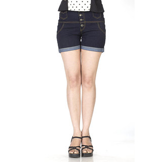 TrendBAE 5 Button High Waist Shorts - Navy Blue