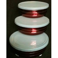 Set Of 3 Steel Storage Bowls With Lid Limited Period Offer Red Colour With Lining Design
