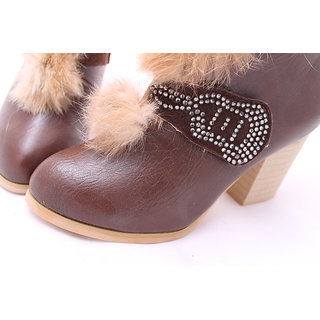 Welcome Winter Offer:Fur Embellished High Heel Diamonds Design Pumps(Eu Size:35)