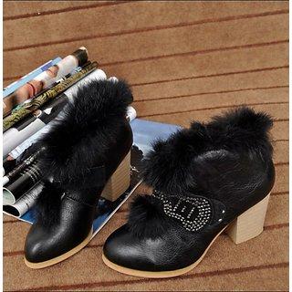 Welcome Winter Offer:Fur Embellished High Heel Diamonds Design Pump(EuSize:36,37
