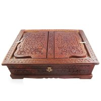 Traditional Fully Hand Carved Wooden Book Stand Cum Holder