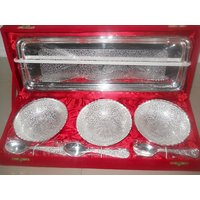 Silver Plated Bowl & Spoon Set - 3 Bowls - 3 Spoons & Tray