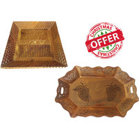 Wood Ocean Serving Tray With Elegant Finish (Set Of 2)