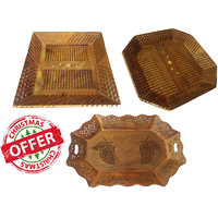 Wood Ocean Serving Tray With Elegant Finish (Set Of 3)