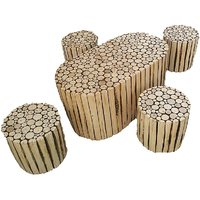 OnlineShoppee Natural Log Slices Coffee Table With Four Stools
