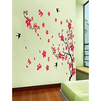 Home Decor Wall Stickers Red Flower Tree Bird Decorations For Home