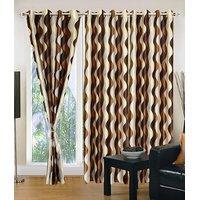 Homesazawat Beautiful Set Of 3 Eyelet Door Curtain(4x7ft) - 6767118