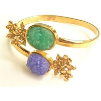 Shreevaram Peacock Agate Cuff Bangle Bracelet