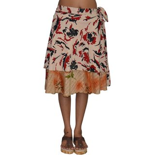 Pezzava Women's Silk Wrapround Knee Length Skirt (SKT-WKS-A0061)