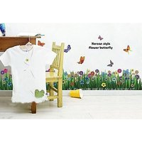 Home Decor Wall Stickers Grass Flowers And Butterfles Lawn Decorations For Home