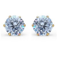 5.00mm Round White Cubic Zirconia Gold Plated Stud Earring