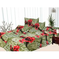 100% Cotton Cartoon Print Double Bed Sheet With Pillow Covers - 6841454