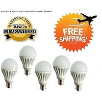 3 Watt LED BULB 3W BRIGHT WHITE LIGHT Set OF 5 Pcs (A)