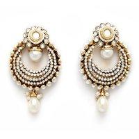 Beautiful Beaded Earrings Off White
