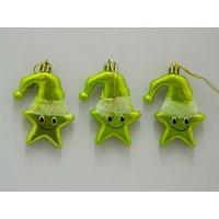 Christmas Tree Decoration Cute Star Set Of 3 Green