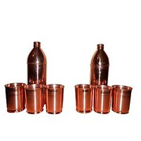 2 Copper Bottles With 6 Copper Glasses