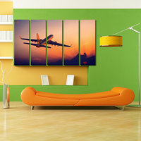 Flying Plane Like Modern Wall Art Painting - 5 Frames (148 X 76 Cms) 5Frames0047