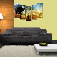Sun Set Tree Like Modern Wall Art Painting - 5 Frames (148 X 76 Cms) 5Frames0068
