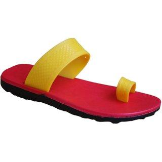 ABS Men's Yellow & Red Paduka Slippers